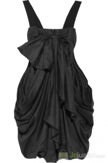 Black linen satin dress
